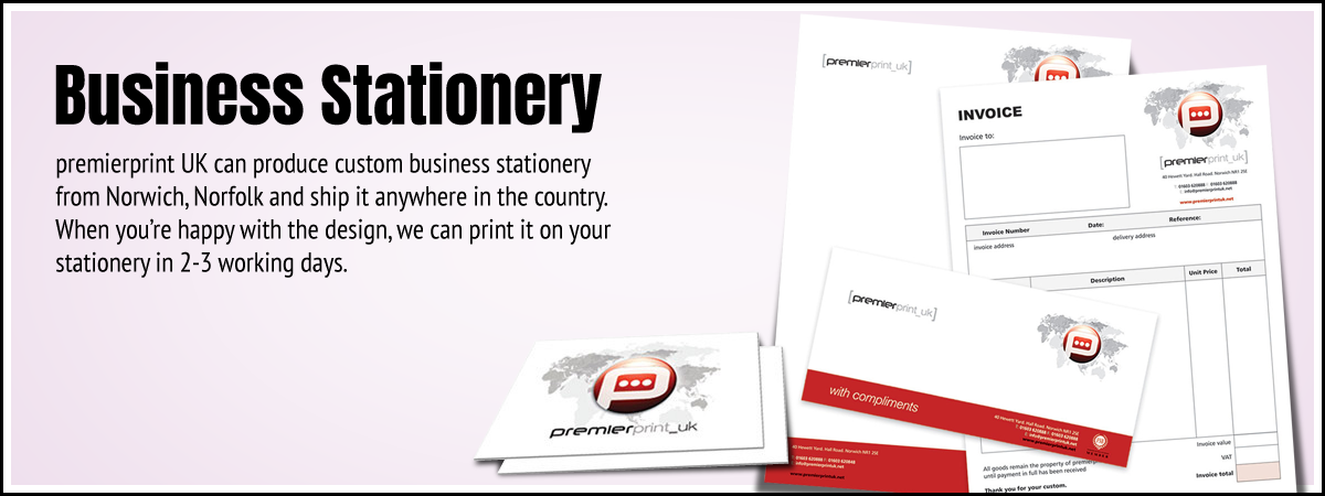 Premier Print UK Business Stationery main image producing custom business stationery from Norwich, Norfolk