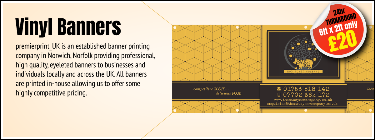 Premier Print UK Vinyl Banners main image where all banners are printed in-house and a fast turnaround