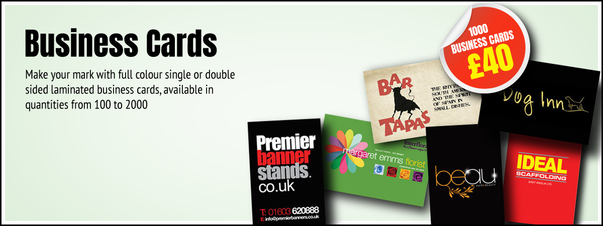 Premier Print UK Business Cards main image for full colour single or double sided laminated business cards