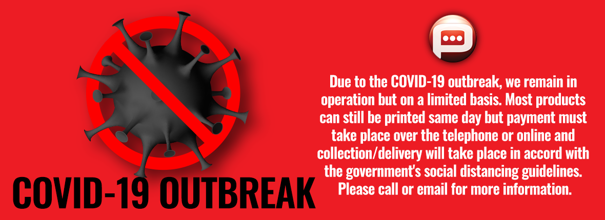 COVID-19 outbreak banner header for updating Premier Print customers